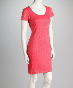 Take a look at this Coral Lace Short-Sleeve Dress on zulily today!