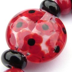 Poppies lampwork bead...