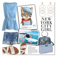 """""""Self Tie Belted Tank Azure"""" by bellamonica ❤ liked on Polyvore featuring H&M and K. Jacques"""