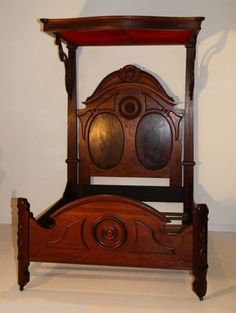 American Victorian Bed Half Teester Burled Walnut