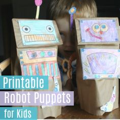 Robot Paper Sack Puppets This FREE Printable is great for your kids. Easy kids craft for your Robot theme fun Friday or a Rainy day craft. Gingerbread House Frosting, Gingerbread Houses, Robot Mask, Robot Theme, Paper Sack, Puppets For Kids, Snow Flakes Diy, Rainy Day Crafts, Frozen Party