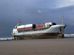 Oops!  Beached Cargo Ship