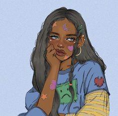 Black Girl Cartoon, Black Girl Art, Black Women Art, Black Girls Drawing, Pretty Girl Drawing, Cute Art Styles, Cartoon Art Styles, Cool Art Drawings, Art Drawings Sketches