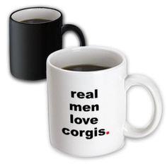 3dRose Real men love corgis, Magic Transforming Mug, 11oz