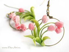 Decoración: pendientes de primavera con los tulipanes rosados - Fito Arte
