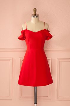 Rossa - Bright red off shoulder ruffled sleeves dress