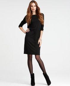 black dress, black tights, black booties