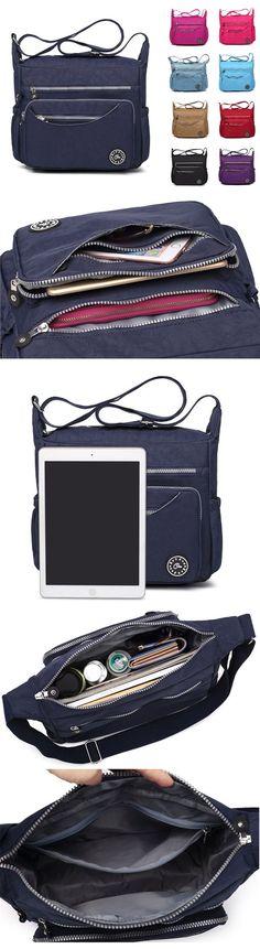 [$ 18.74]   Women Waterproof Nylon Multi-pocket Zipper Shoulder Bags Crossbody Bags