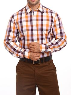 Color Plus introduces this dark orange colored shirt for people who believe in wearing their personality on their sleeve. This formal shirt will not only enhance your personality but also improve your level of confidence. This shirt features a tailored fit to give you an utmost level of comfort without compromising on style. It is made up of premium casual checks which ensure the durability and high quality of this garment. You can wear this full sleeve checkered shirt to your office along…
