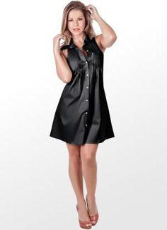 Vestido Preto com Fechamento Frontal em Botão - Posthaus