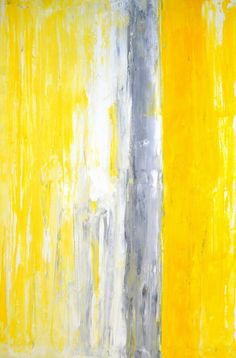 Large Acrylic Abstract Art Painting Yellow White and by T30Gallery, $156.00