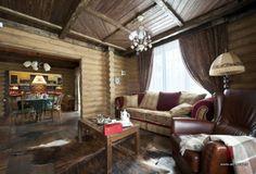 Фото интерьера зоны отдыха небольшого дома в стиле кантри | Дизайн интерьера дом из цельных бревен в стиле французского шале | #Interior #design #house of whole logs style French chalet