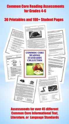 The Common Core Reading Collection contains THIRTY different content-rich, meaningful reading and language assessments and 100+ full pages of student work! These printables were created to target well over 45 different Elementary Level Common Core Informational Text, Literature, or Language Standards $