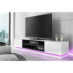 Add the wow factor to your living space with our EVOQUE TV units fitted with ultra-modern LED lighting in a variety of colours and effects. Tv Unit Furniture Design, Tv Stand Furniture, Furniture Ideas, Tv Stand With Led Lights, Led Tv Stand, Large Tv Stands, White Tv Stands, Living Room Modern, Living Room Decor
