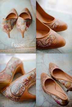"""Hand-Painted Vintage Wedding Shoes, """"Ballooning Over Paris,"""" by Figgie 
