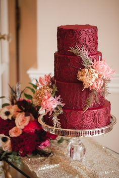 Rich, luxurious Marsala, Pantone COLOR OF THE YEAR 2015...detail is all frosting piping with Wafer Paper Flowers and fresh greens   www.stlbridalswee... www.caseyhphotos.com