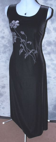 Canda,ladies,size 18,black,glitzy,scoop neck,sleeveless,calf length,Party,Dress.