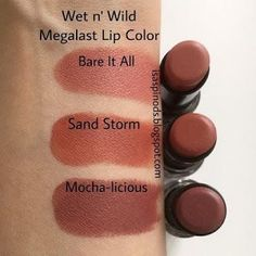 Wet n Wild Megalast Lip Color en Bare It All Sand Storm y Mocha-licious Swatches. - Wet n Wild Megalast Lip Color en Bare It All Sand Storm y Mocha-licious Swatches en Little Fairy Bl -