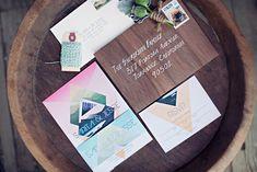 geometric wedding invitation, wood grain envelope, white writing on dark envelope, bright twine Laser Cut Wedding Invitations, Save The Date Invitations, Wedding Stationary, Invitation Paper, Invitation Design, Invitation Suite, Stationery Design, Wedding Paper, Diy Wedding