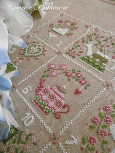 Hart to Hart: Epiphany . or spring coming? Cross Stitch Kitchen, Just Cross Stitch, Cross Stitch Needles, Cross Stitch Heart, Counted Cross Stitch Patterns, Cross Stitch Designs, Embroidery Hoop Art, Ribbon Embroidery, Cross Stitch Embroidery