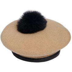Eugenia Kim Women Hadley Wool Felt Beret With Fur Pompom (€205) ❤ liked on Polyvore featuring accessories, hats, wool berets, fur pom-pom hats, eugenia kim beret, felt beret and fur felt hat
