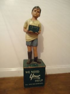 Old Vintage Charity Box Shop Mannequin Moneybox