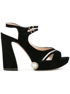 Shop Nicholas Kirkwood 105mm 'Estella' pearl platform sandals.