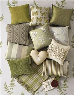 green cream and neutral cushions