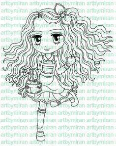 Digital Stamp Miss Apple Digi Stamp Coloring page by artbymiran