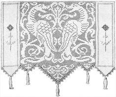 Elegant Dragons Lace Curtain Filet Crochet Pattern   Claudia Botterweg Books