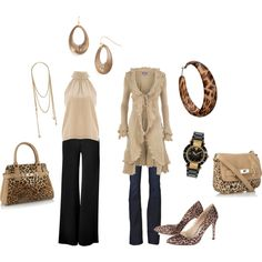 Ruffles & Leopard Print with sacks and jeans, created by laura-truitt.polyvore.com
