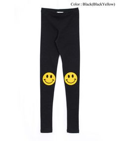 AnnaKastle New Womens Ladies Happy Smiley Face Knee Patch Leggings Tight Pants | eBay