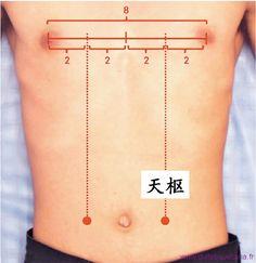 Le 25ème point du méridien de l'estomac (25E) est intéressant pour les troubles touchant le bas de l'abdomen et notamment les problèmes intestinaux.
