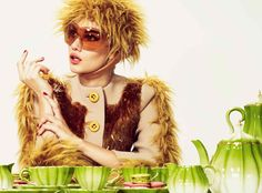 Wool coat with sequins and brushed mohair, £4,300, brushed mohair hat, £255, and sunglasses, from £220, all by Prada. Melon Tea Set (six teacups, saucers and side plates, plus teapot, milk jug and sugar pot), £2,000, and Melon Coffee Set (six coffee cups, saucers and side plates, plus coffee pot, milk jug and sugar pot), £1,895, both by Asprey. Macaroons, £1.60 each, by Ladurée. Asprey, 167 New Bond Street, London W1 (020-7493 6767; www.asprey.com). Harrods, 87-135 Brompton Road, London SW1…