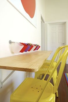Kids playroom. Great idea! #industrial #kids #colour #fun #kidsideas #pencils #storage #bench
