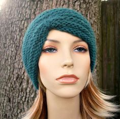 Hand Knit Hat Womens Hat  Turban Beanie in Emerald by pixiebell, $40.00
