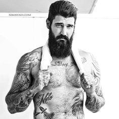 Jerry Melo - full thick black beard mustache beards bearded man men tattoos tattooed handsome bearding #beardsforever