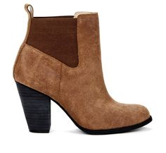 stack heeled fawn suede boot