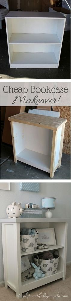 DIY bookcase, white book case, sturdy, farmhouse, easy to make, cheap bookcase makeover, before and after, (aff link)