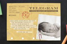 Telegram style birth announcement card