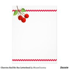 Cherries And Ric Rac Letterhead by MousefxArt.Com (Mousefx Zazzle Store)