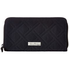Vera Bradley RFID Georgia Wallet (Classic Navy) Wallet ($58) ❤ liked on Polyvore featuring bags, wallets, zip bag, blue wallet, cotton wallet, zipper bag and quilted wallet