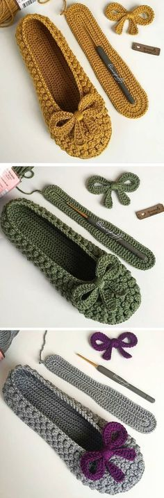 Slippers With a Bow – Design Peak Pantoffeln mit Schleife – Design Peak Crochet Clothing Mode Crochet, Crochet Baby, Knit Crochet, Knitted Slippers, Crochet Slippers, Baby Slippers, Sewing Slippers, Slipper Socks, Baby Socks
