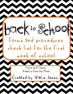 FREE download for back to school - parent contact form, student info form, parent questionnaire, and a procedure checklist