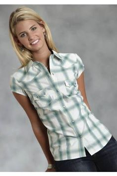 Roper Turquoise Canyon Plaid Ladies Amarillo Collection- Blue Grass Short Sleeve Urban Western Wear - $42.95