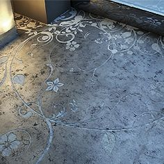 Modern Floor Design Ideas, Pictures, Remodel, and Decor - page middle park house Kelly Wearstler Concrete bathroom floor - I am thinking pat. Stenciled Concrete Floor, Polished Concrete Flooring, Concrete Bathroom, Concrete Art, Stained Concrete, Bathroom Flooring, Concrete Countertops, Penny Flooring, Dark Flooring