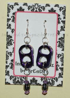 Dark Purple Sparkle Soda Pop Aluminum Can Pull Tab Fashion Earrings by InspiredDesignzByJK Purple Sparkle, Dark Purple, Diy Jewelry, Jewelry Making, Unique Jewelry, Pop Can Tabs, Can Tab Crafts, Bottle Cap Earrings, Earring Cards