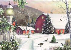 Red Barns & Snowman at Christmas