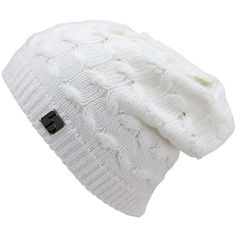 White Oversize Slouchy Cable Knit Beanie Cap Hat ($14) ❤ liked on Polyvore featuring accessories, hats, beanies, hair accessories, head, white, oversized beanie hats, slouch beanie, white beanie hat and slouch beanie hats