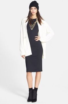 Tildon Open Front Cardigan & Leith Long Sleeve Midi Dress  available at #Nordstrom